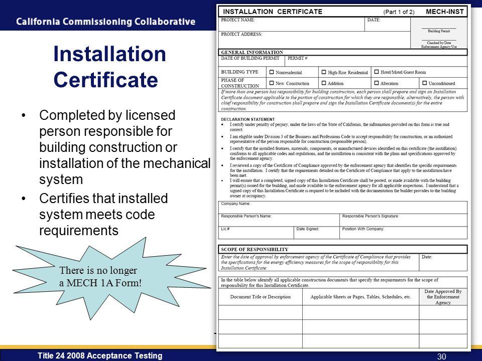 Installation Certificate