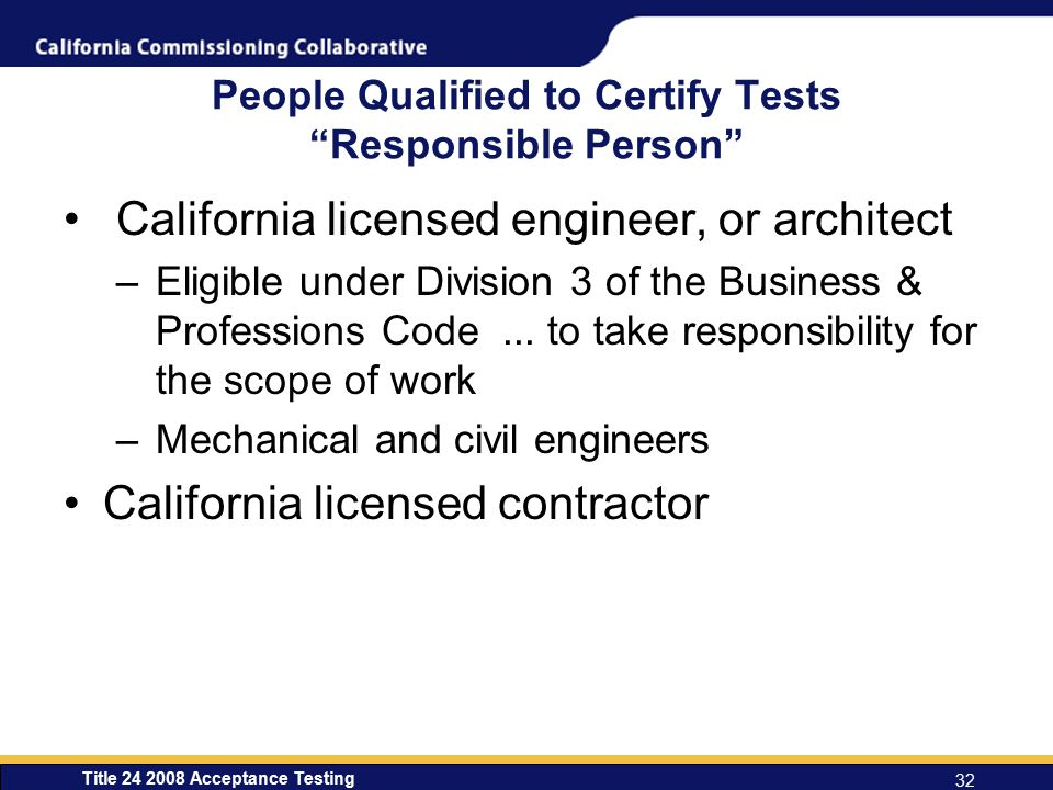 People Qualified to Certify Tests Responsible Person