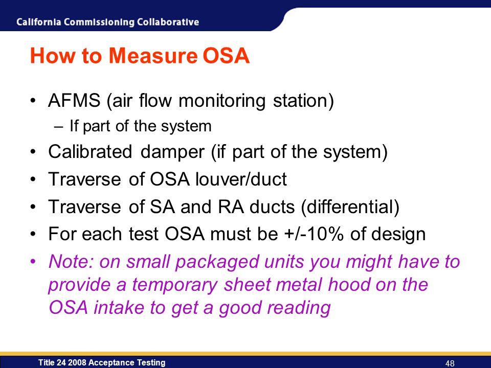How to Measure OSA AFMS (air flow monitoring station)
