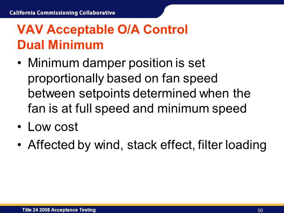 VAV Acceptable O/A Control Dual Minimum