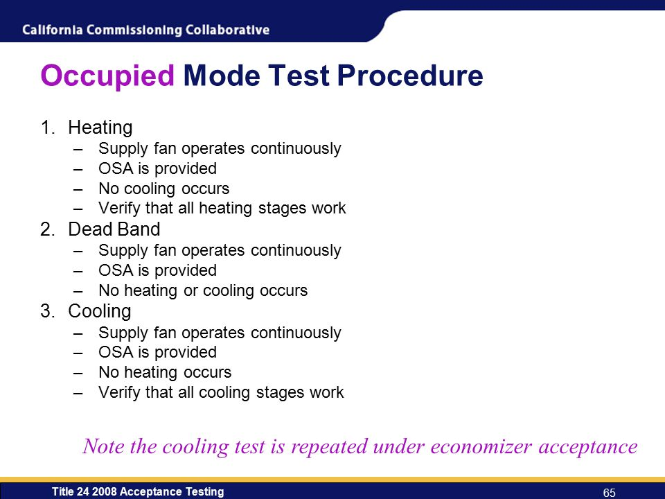 Occupied Mode Test Procedure