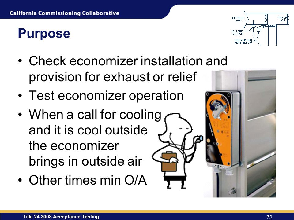 Check economizer installation and provision for exhaust or relief