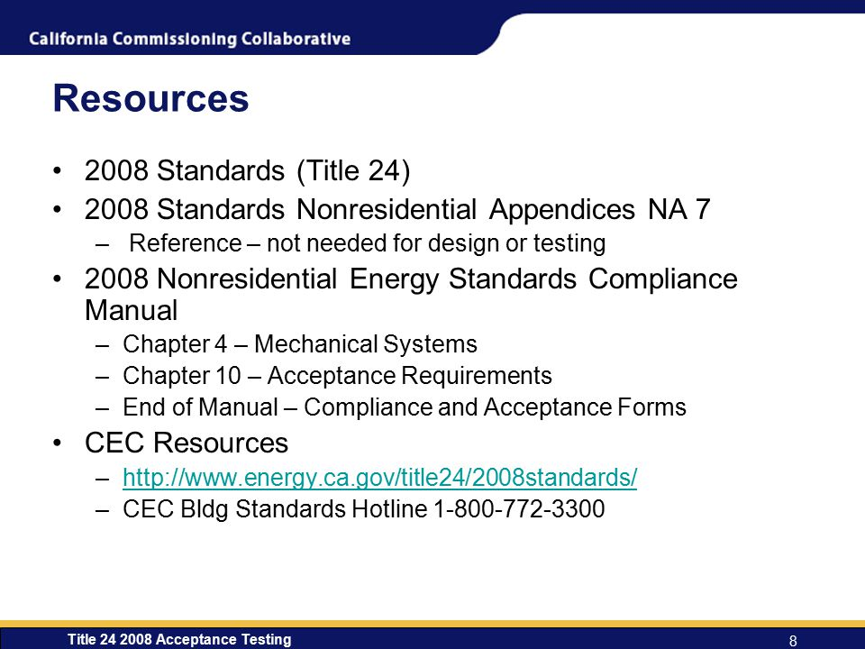 Resources 2008 Standards (Title 24)