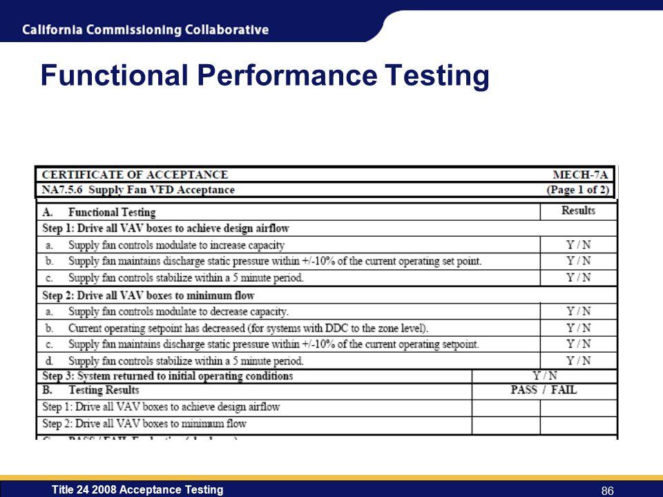 Functional Performance Testing