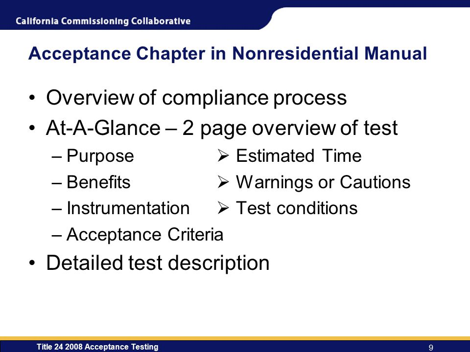 Acceptance Chapter in Nonresidential Manual