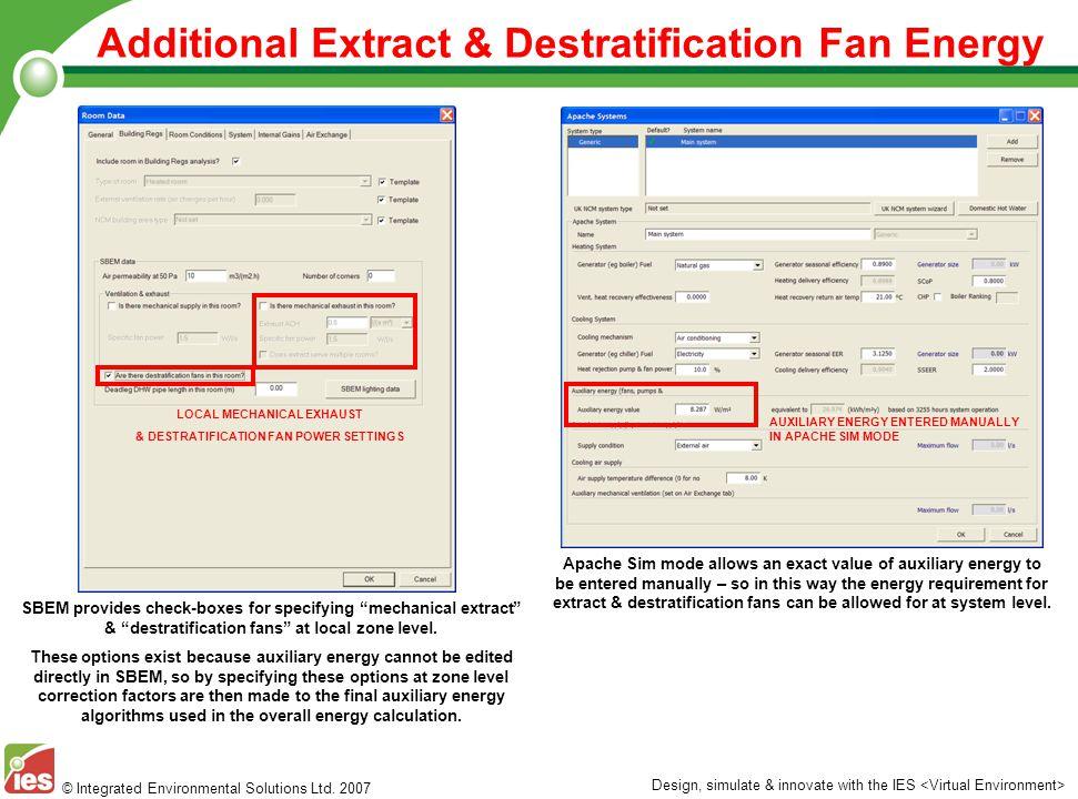 LOCAL MECHANICAL EXHAUST & DESTRATIFICATION FAN POWER SETTINGS