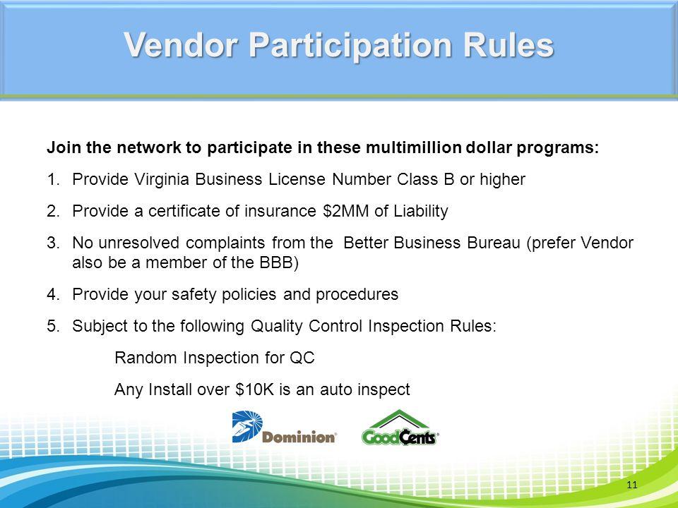 Vendor Participation Rules