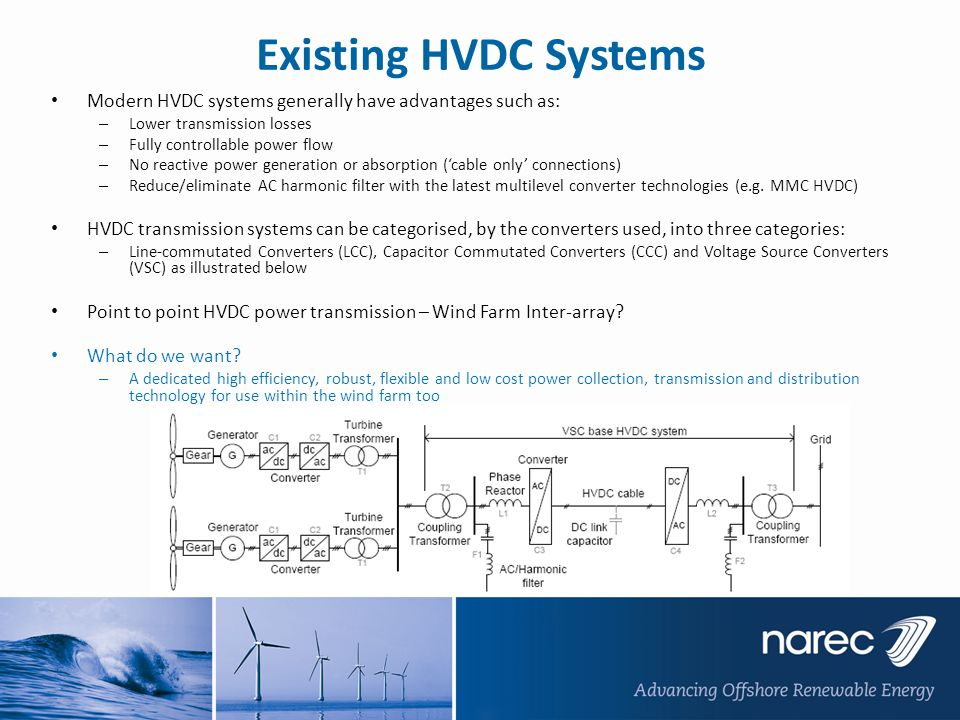 Existing HVDC Systems Modern HVDC systems generally have advantages such as: Lower transmission losses.
