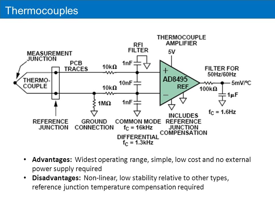 Thermocouples Advantages: Widest operating range, simple, low cost and no external power supply required.