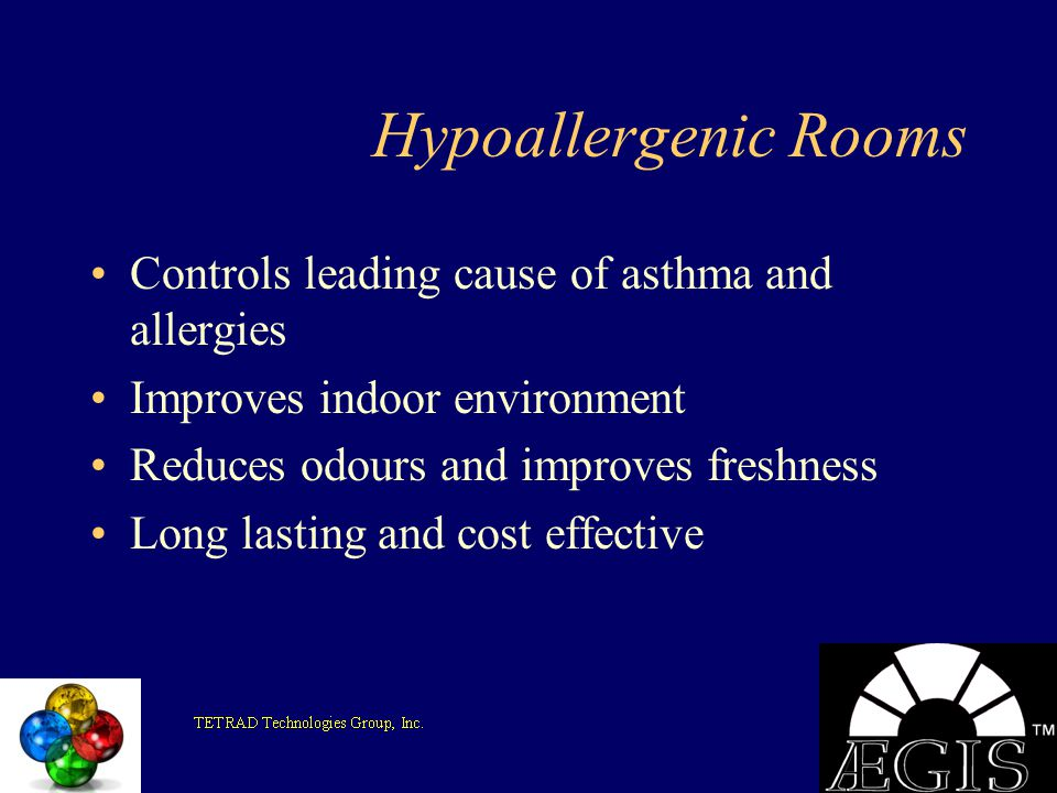 Hypoallergenic Rooms Controls leading cause of asthma and allergies