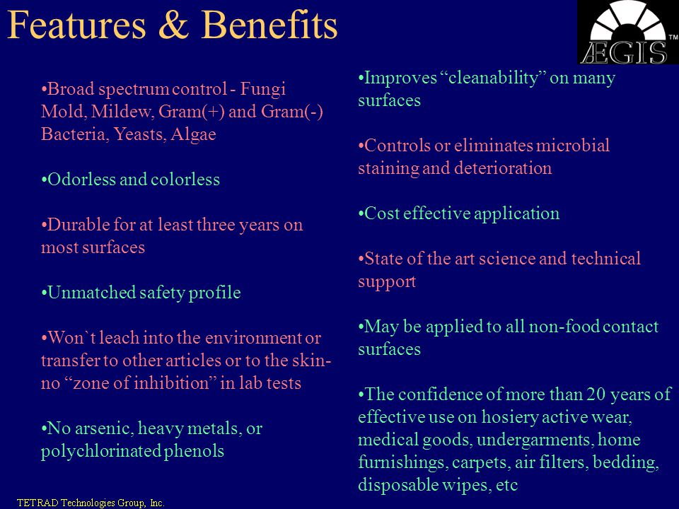Features & Benefits Improves cleanability on many surfaces