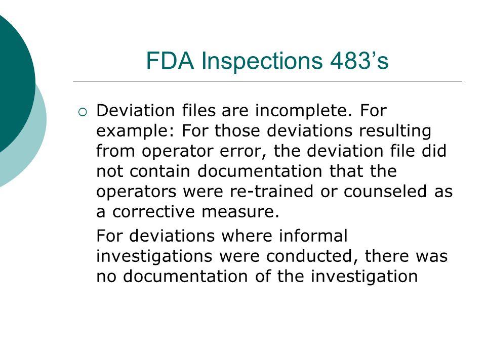 FDA Inspections 483's