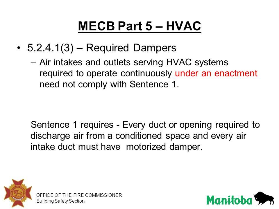 MECB Part 5 – HVAC 5.2.4.1(3) – Required Dampers