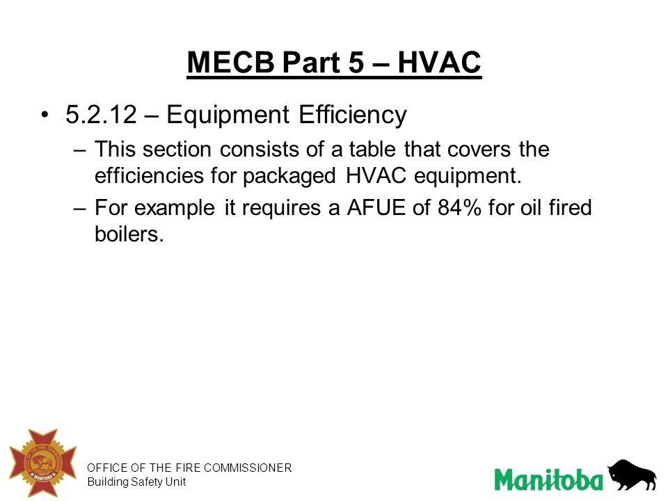 MECB Part 5 – HVAC 5.2.12 – Equipment Efficiency