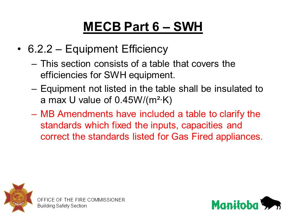 MECB Part 6 – SWH 6.2.2 – Equipment Efficiency