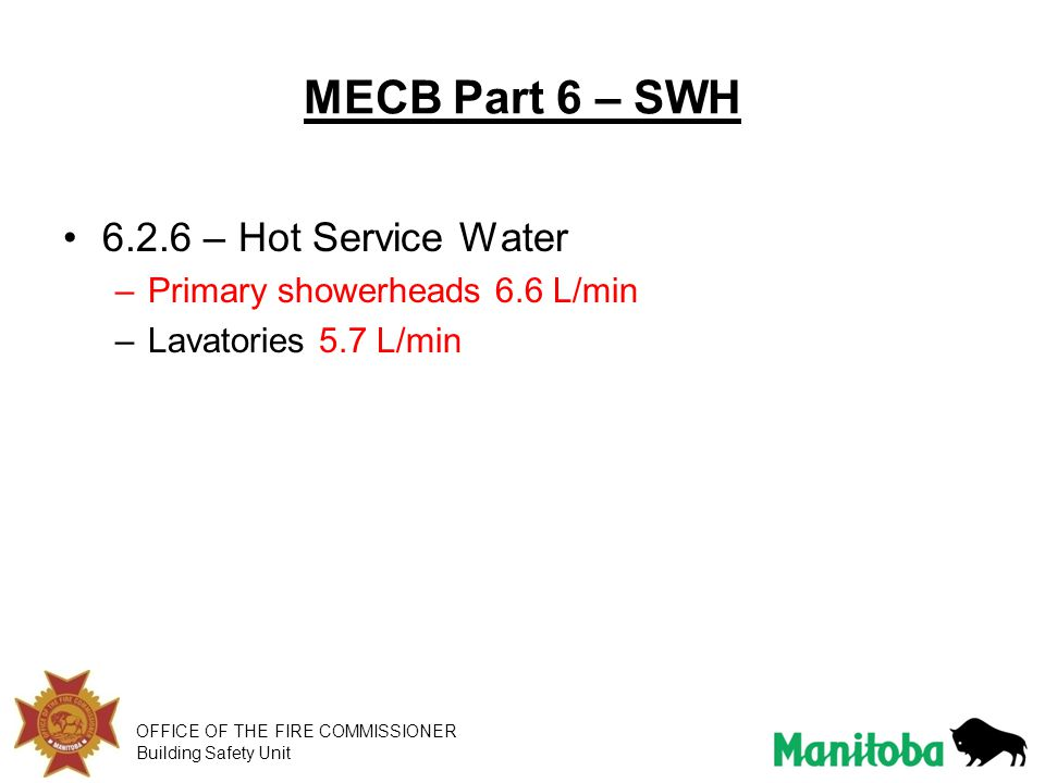 MECB Part 6 – SWH 6.2.6 – Hot Service Water