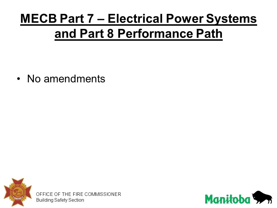 MECB Part 7 – Electrical Power Systems and Part 8 Performance Path
