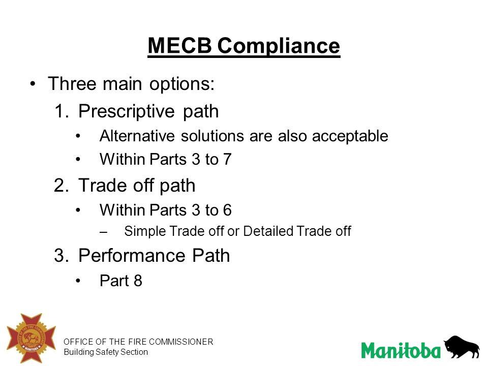 MECB Compliance Three main options: Prescriptive path Trade off path