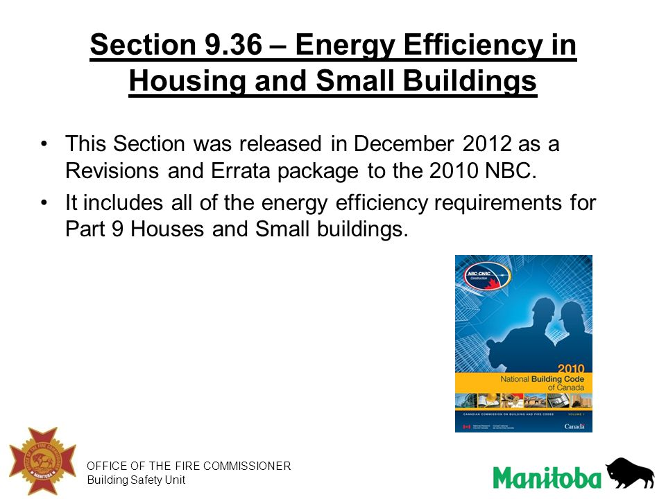 Section 9.36 – Energy Efficiency in Housing and Small Buildings