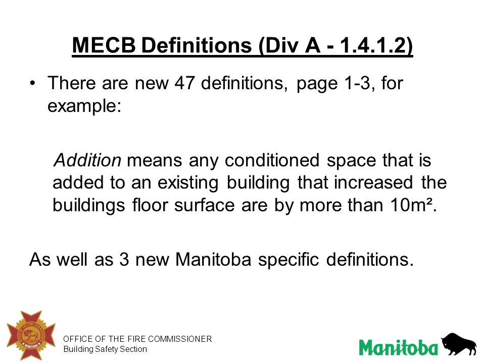 MECB Definitions (Div A - 1.4.1.2)