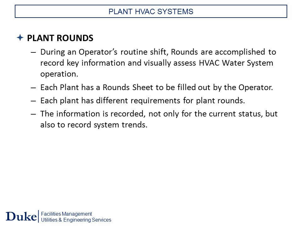 PLANT ROUNDS PLANT ROUNDS