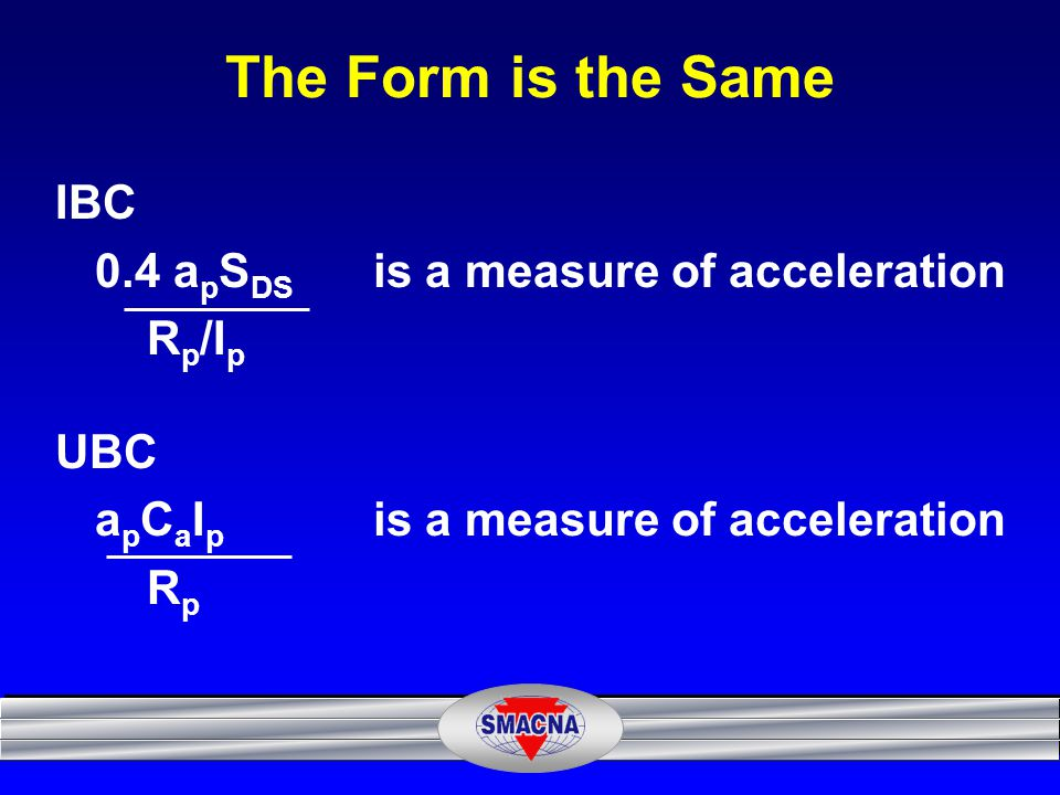 The Form is the Same IBC 0.4 apSDS is a measure of acceleration Rp/Ip