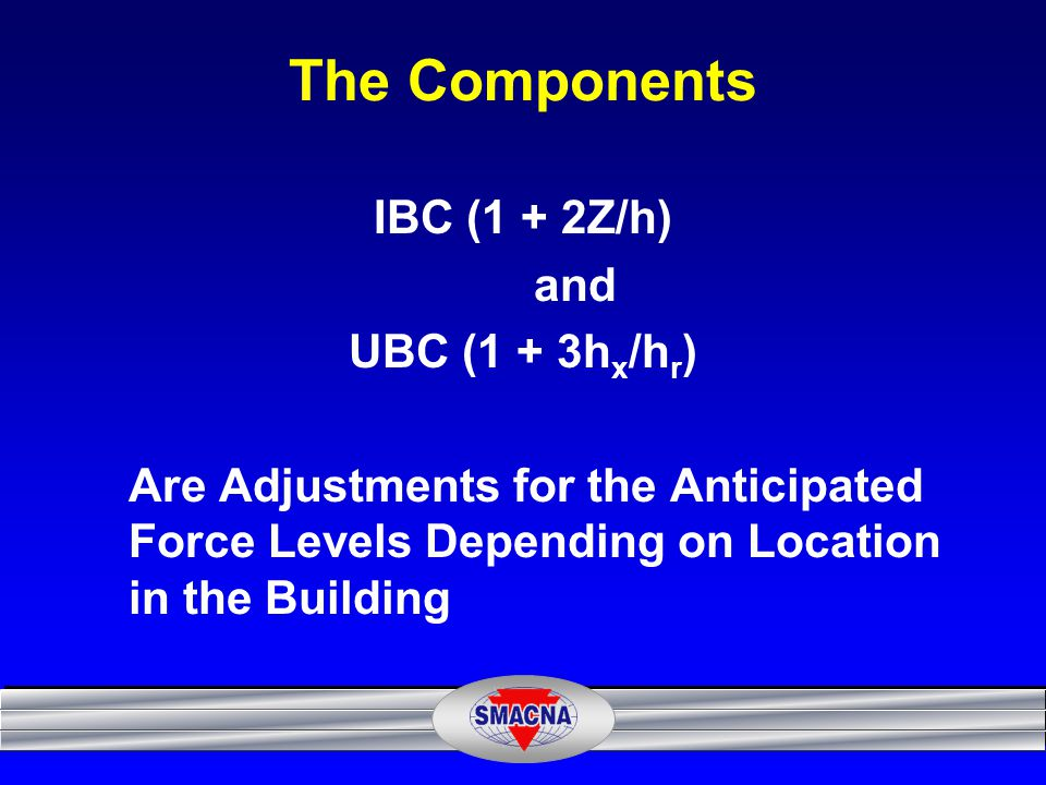 The Components IBC (1 + 2Z/h) and UBC (1 + 3hx/hr)