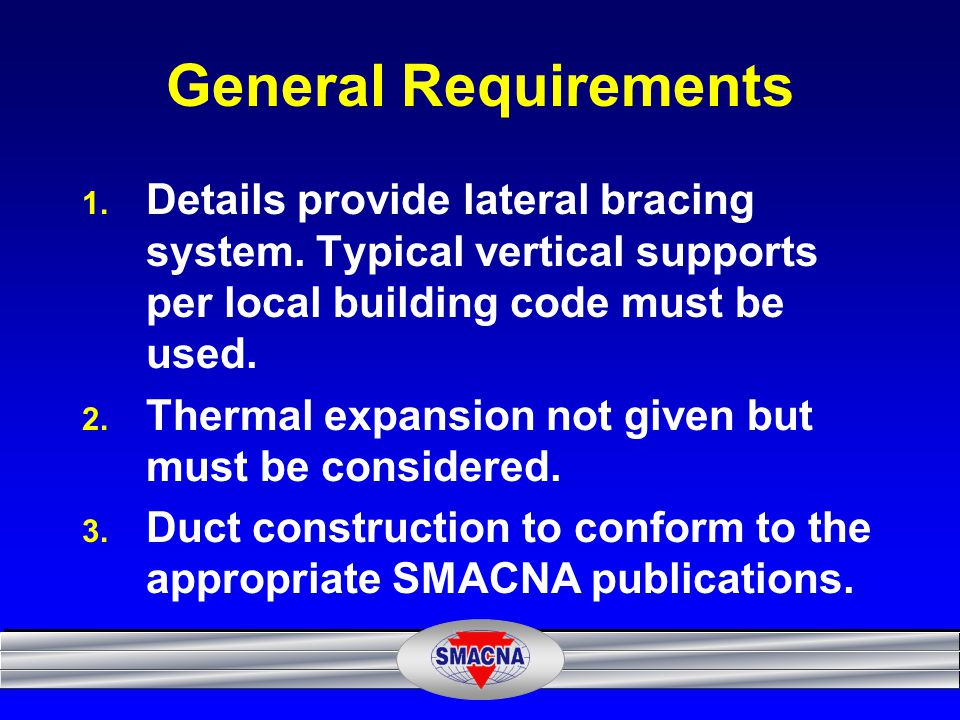 General Requirements Details provide lateral bracing system. Typical vertical supports per local building code must be used.