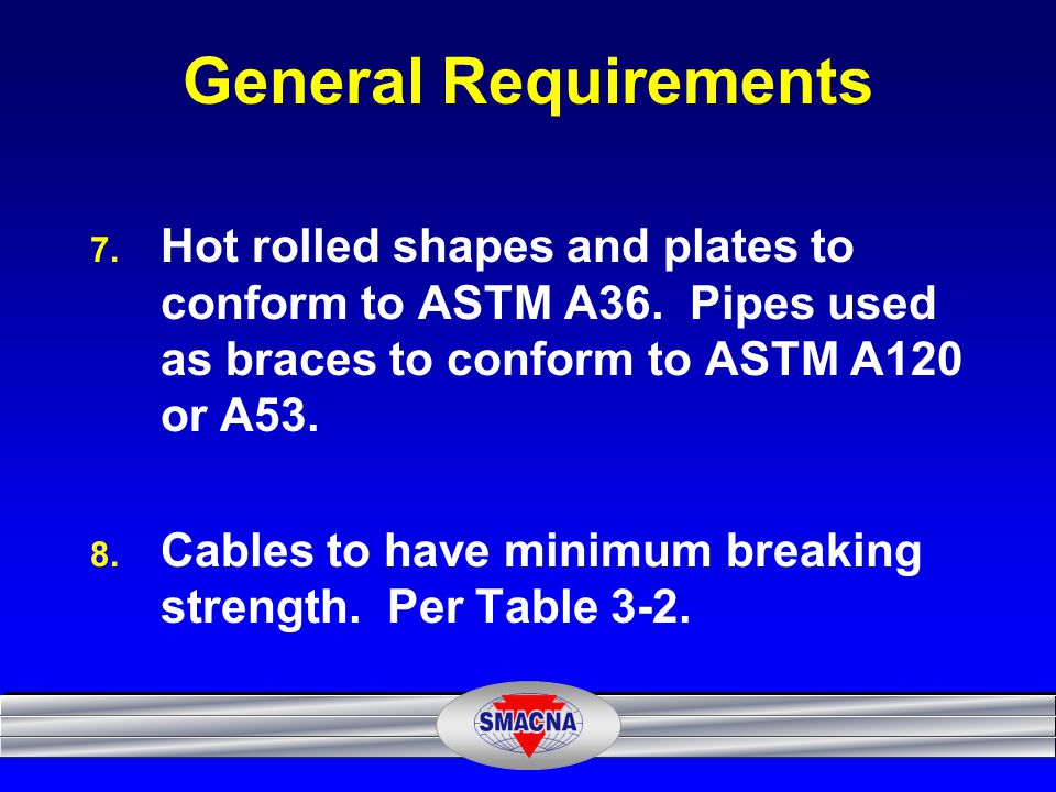 General Requirements Hot rolled shapes and plates to conform to ASTM A36. Pipes used as braces to conform to ASTM A120 or A53.