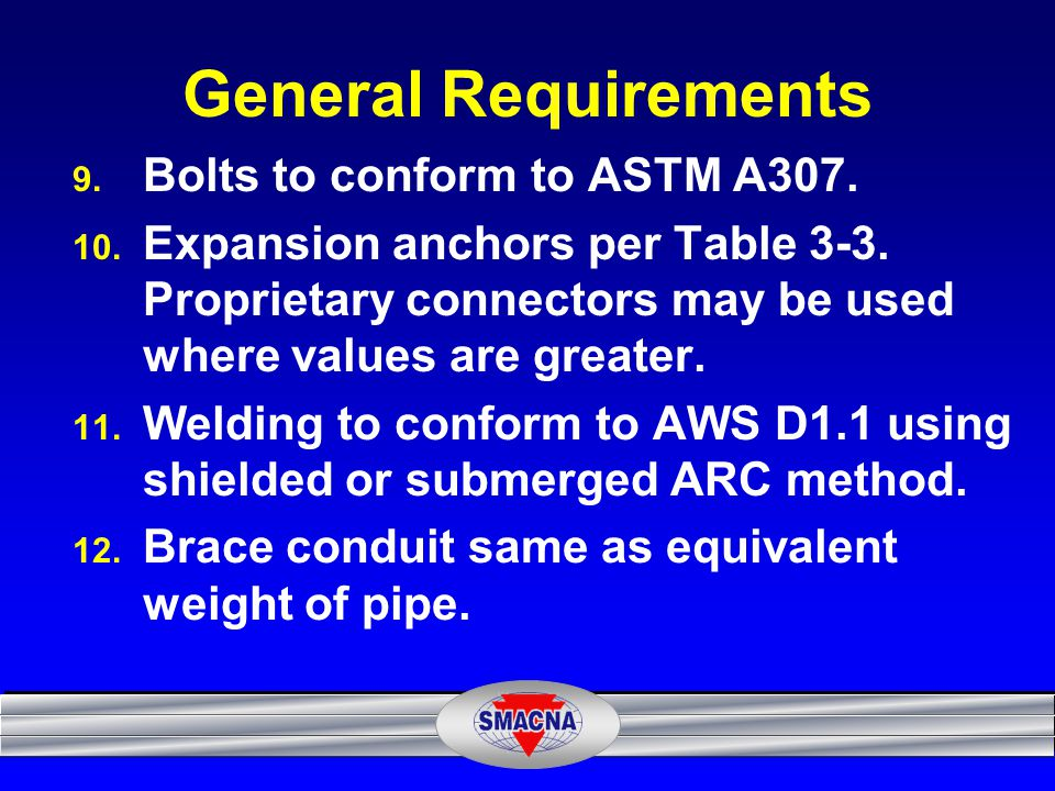 General Requirements Bolts to conform to ASTM A307.