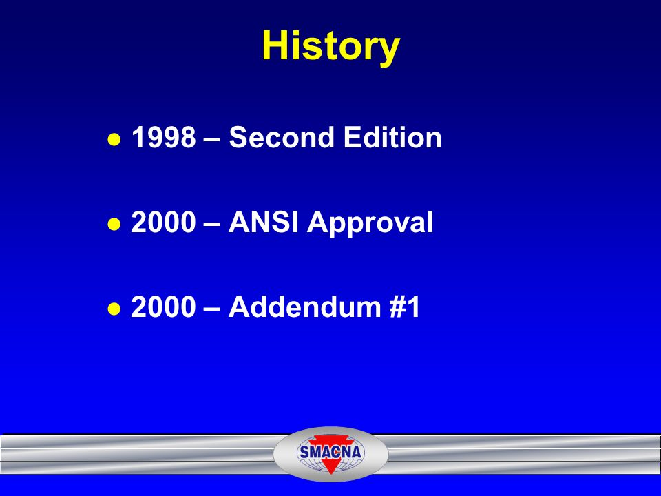History 1998 – Second Edition 2000 – ANSI Approval 2000 – Addendum #1