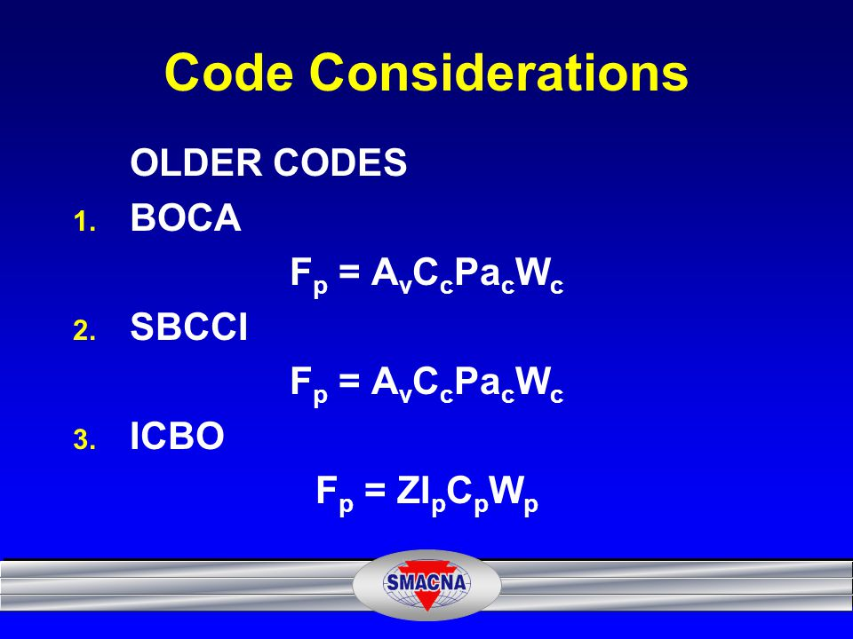 Code Considerations OLDER CODES BOCA Fp = AvCcPacWc SBCCI ICBO