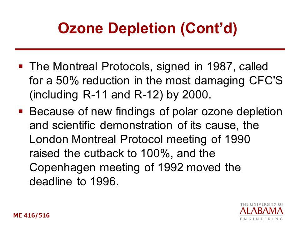 Ozone Depletion (Cont'd)