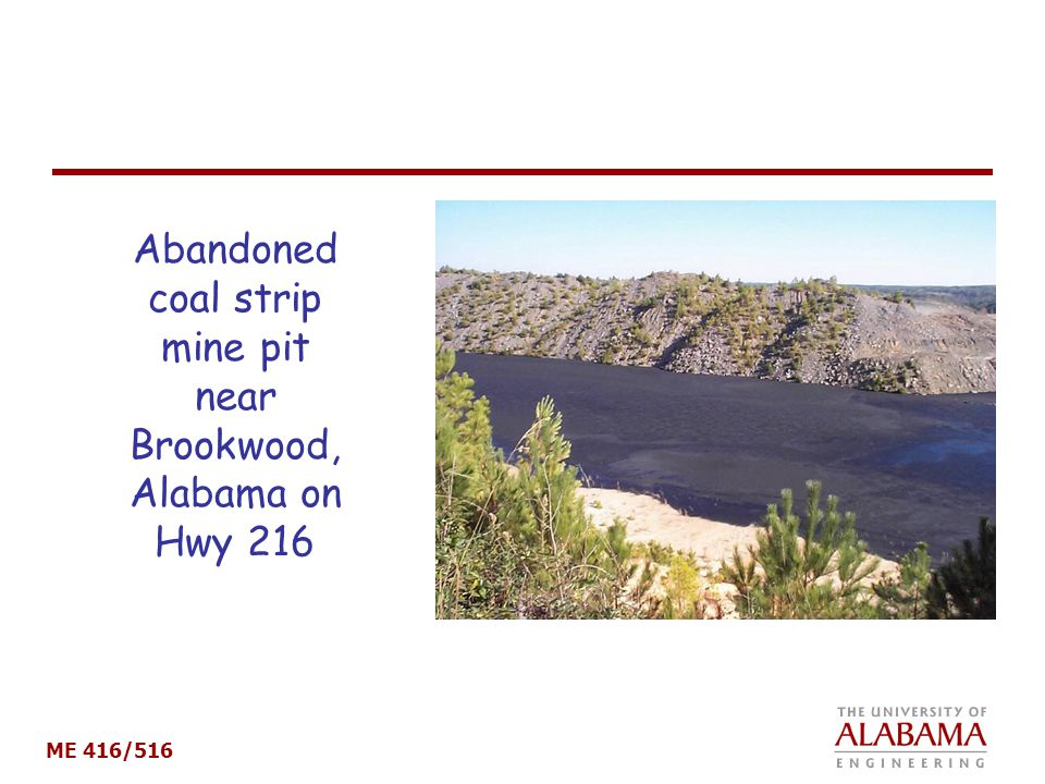 Abandoned coal strip mine pit near Brookwood, Alabama on Hwy 216