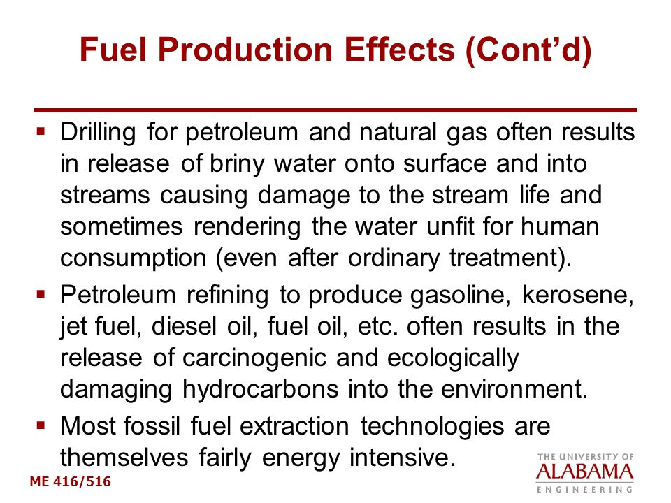 Fuel Production Effects (Cont'd)