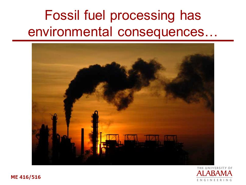 Fossil fuel processing has environmental consequences…