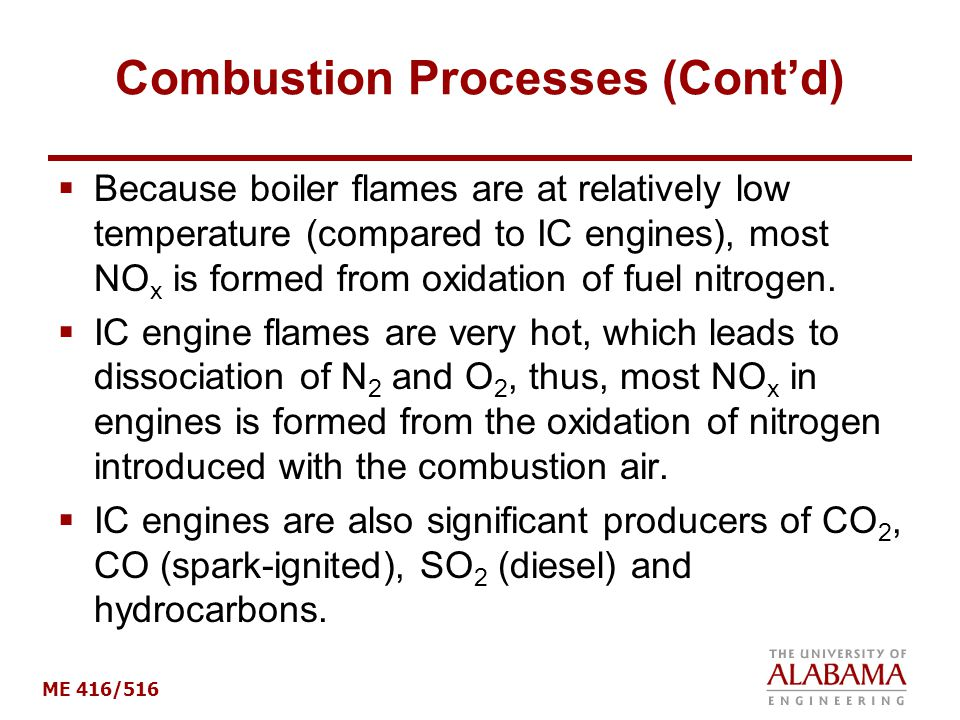 Combustion Processes (Cont'd)