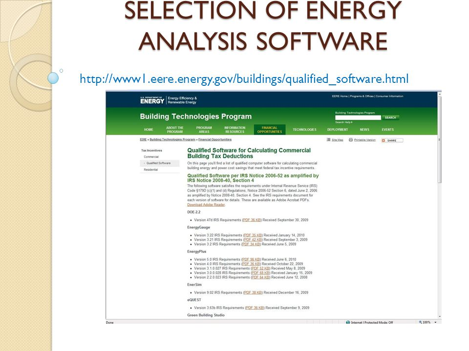 SELECTION OF ENERGY ANALYSIS SOFTWARE