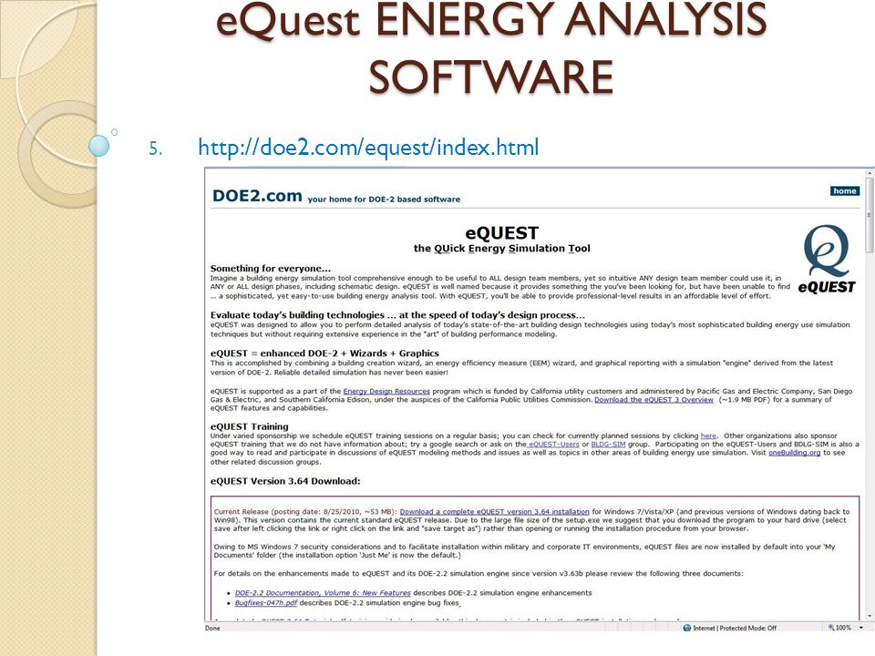 eQuest ENERGY ANALYSIS SOFTWARE