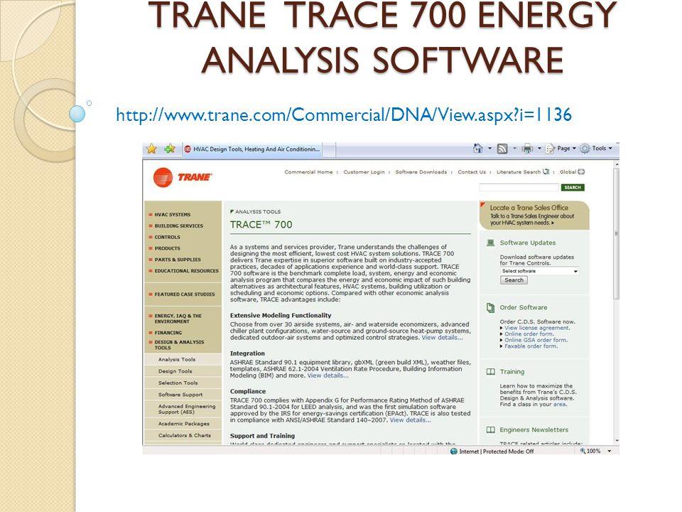 TRANE TRACE 700 ENERGY ANALYSIS SOFTWARE