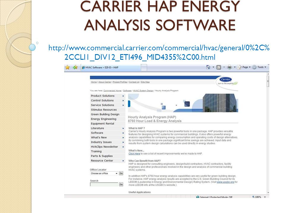 CARRIER HAP ENERGY ANALYSIS SOFTWARE