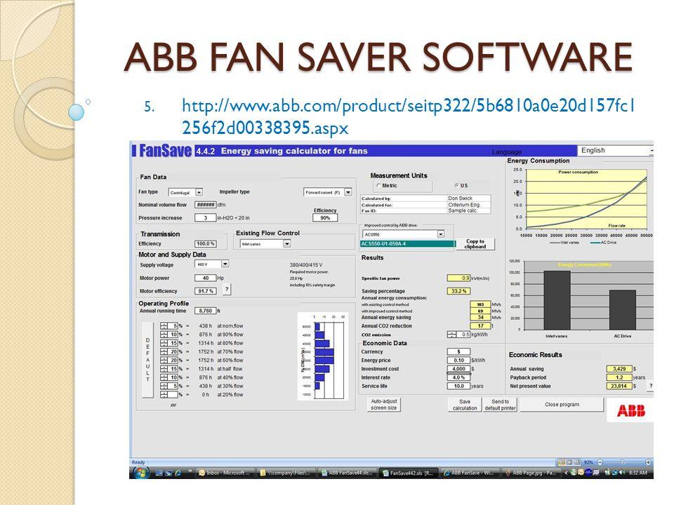 ABB FAN SAVER SOFTWARE http://www.abb.com/product/seitp322/5b6810a0e20d157fc1 256f2d00338395.aspx