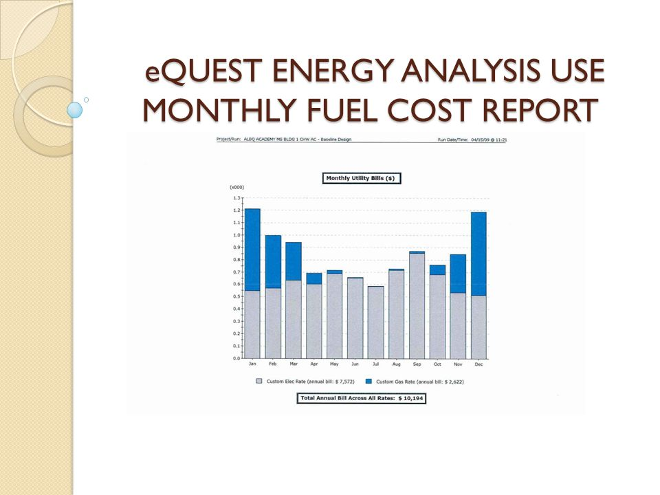 eQUEST ENERGY ANALYSIS USE MONTHLY FUEL COST REPORT