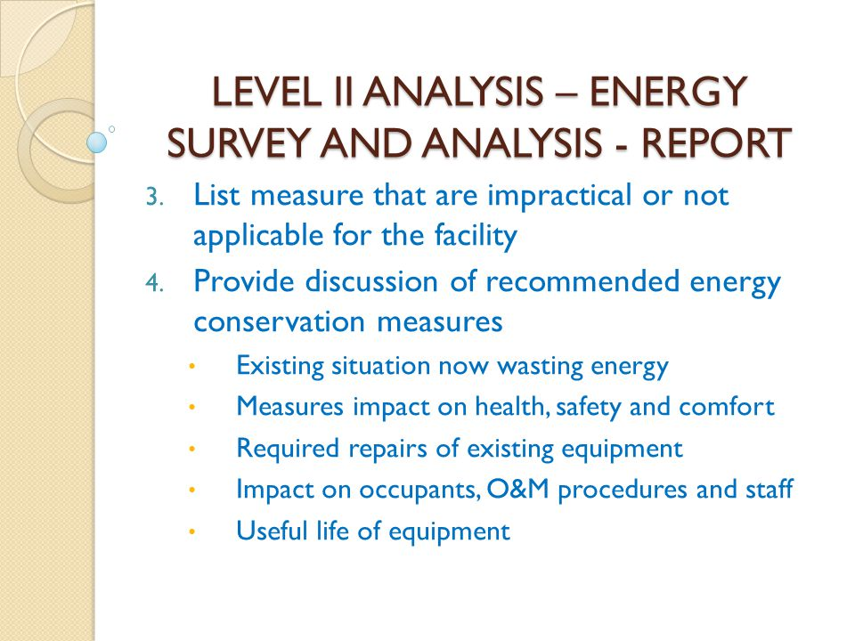 LEVEL II ANALYSIS – ENERGY SURVEY AND ANALYSIS - REPORT