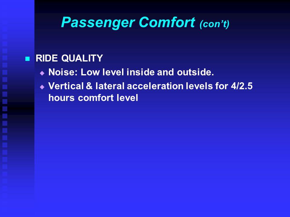 Passenger Comfort (con't)