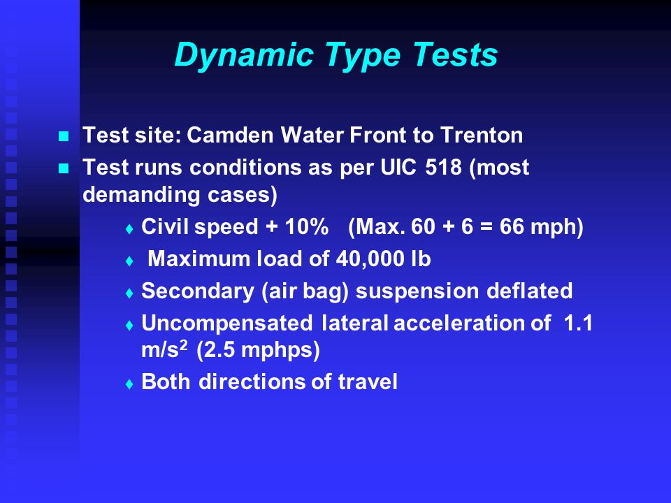 Dynamic Type Tests Test site: Camden Water Front to Trenton