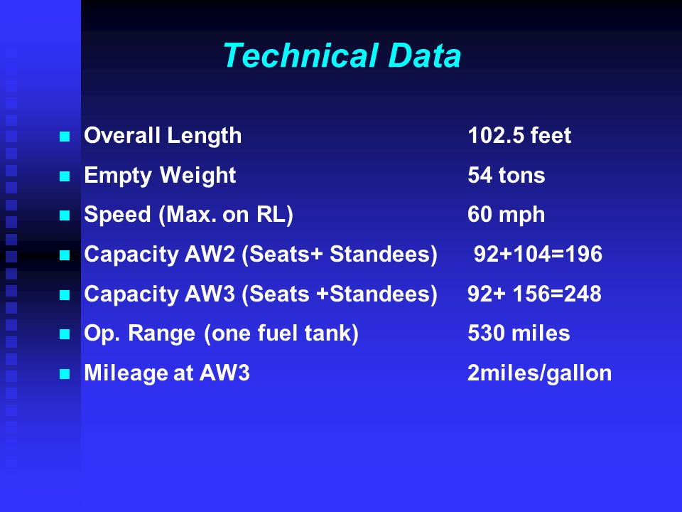 Technical Data Overall Length 102.5 feet Empty Weight 54 tons