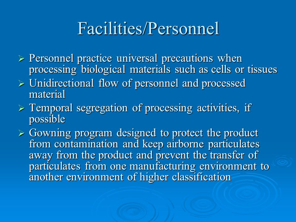 Facilities/Personnel