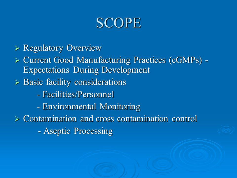 SCOPE Regulatory Overview