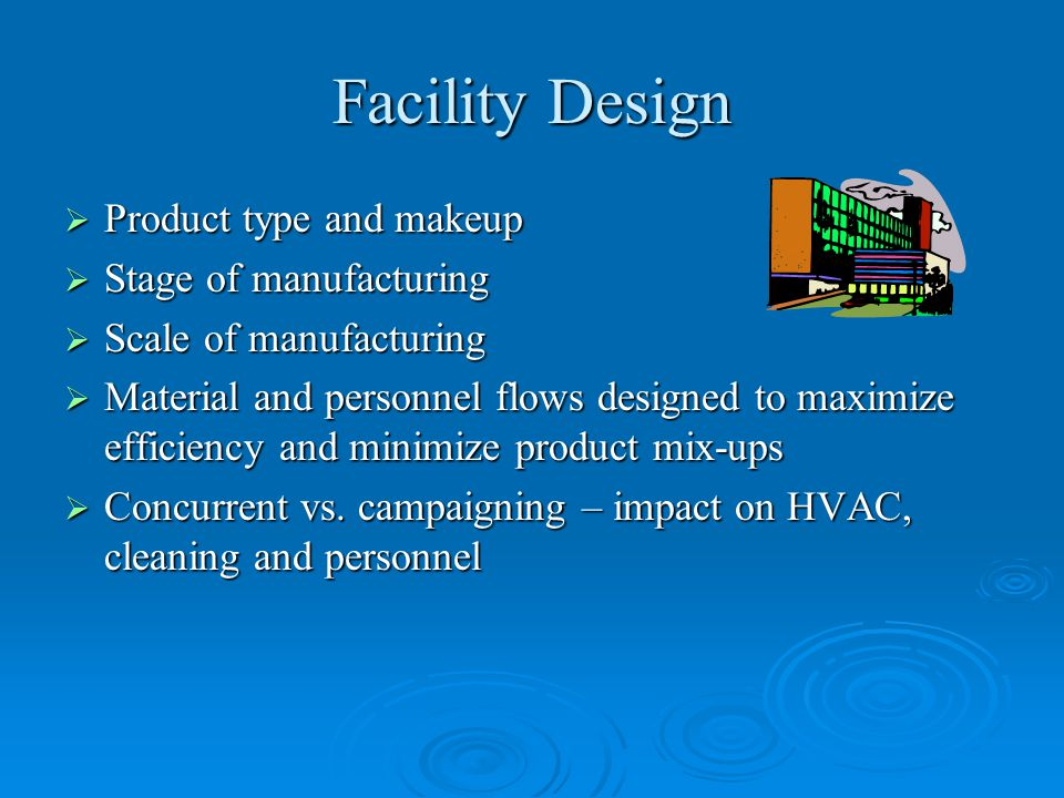 Facility Design Product type and makeup Stage of manufacturing
